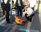 Les lâches colons sionistes brûlent le drapeau palestinien à tel-Aviv