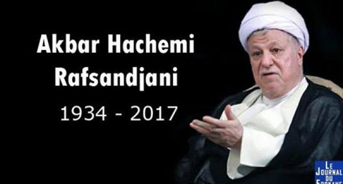 URGENT : mort de l'ancien Président iranien Akbar Hachémi Rafsandjani !