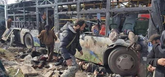 IMAGES CHOQUANTES – Âmes sensibles s'abstenir ==> Un attentat à la voiture piégée perpétré par les terroristes salafistes aujourd'hui a fait plus de 70 morts dans les localités de Foua et Kafraya (Syrie)