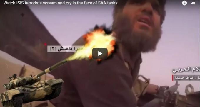[VIDEO] Regardez les terroristes de Daesh crier et pleurer face aux chars de l'Armée Arabe Syrienne