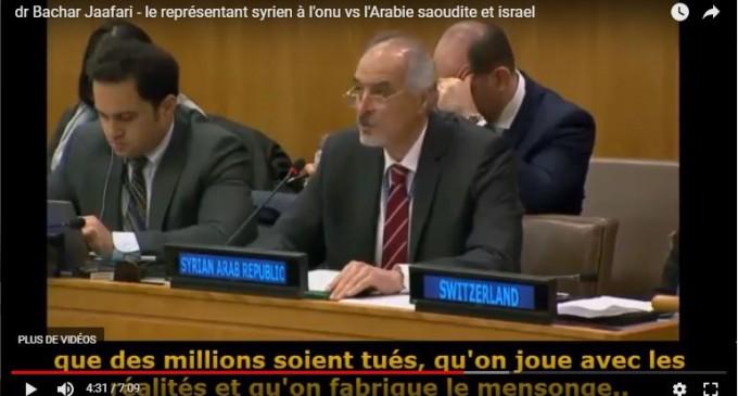 Regardez et écoutez la réponse cinglante du Dr Bachar Jaafari (représentant syrien à l'ONU) à l'encontre de l'Arabie saoudite et d'Israël