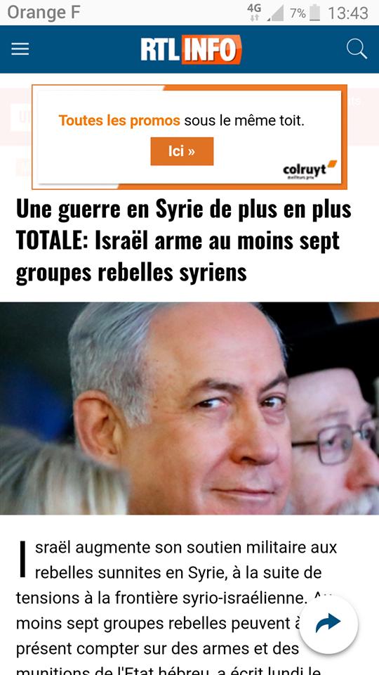 Même RTL parle de la collusion entre Israël et les groupes terroristes djihadistes en Syrie
