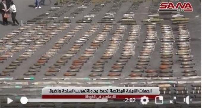 Un stock d'armes découvert par l'Armée Arabe Syrienne dans la Ghouta Orientale dont certaines de fabrication américaine…