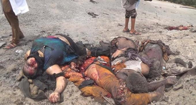 IMAGES CHOQUANTES 14 civils pour la plupart des femmes et des enfants tués lors d'un raid aérien de la coalition arabo-US