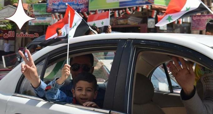 Damas aujourd'hui en soutien à l'Armée Arabe Syrienne contre l'agression étrangère