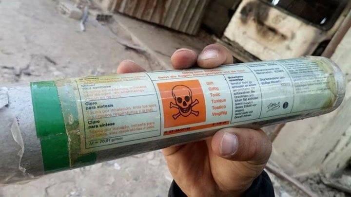 Des conteneurs de gaz chlore provenant d'Allemagne trouvés dans la Ghouta orientale après que les terroristes salafistes se sont retirés de leurs positions.3