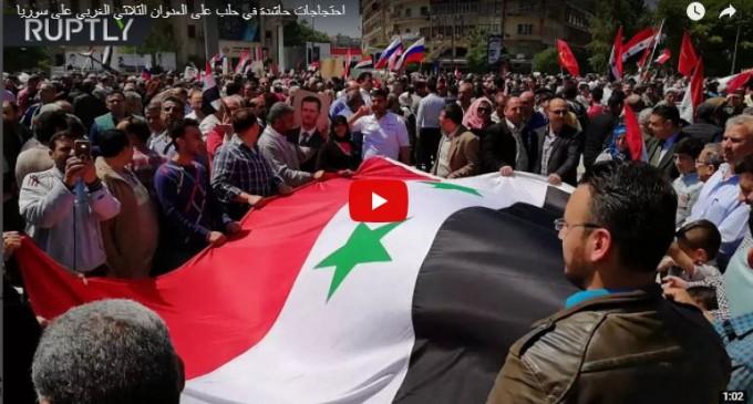 Manifestations massives à Alep contre l'agression agression des USA, de la France et de la Grande-bretagne