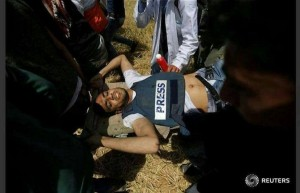 Yasser Mortaja, un cameraman palestinien a été abattu par des tireurs d'élite israéliens 3