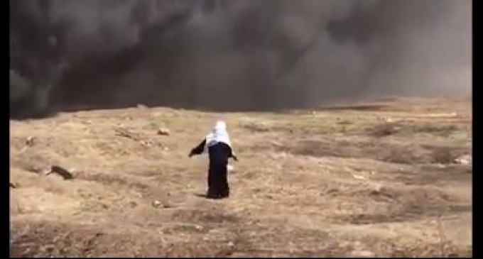 Cette belle vieille Dame Palestinienne jette des pierres sur les forces israéliennes près de la clôture de la frontière à Gaza