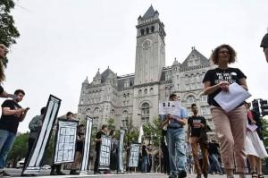 Des manifestations à Washington D.C. rejetant le transfert de l'ambassade américaine à Jérusalem1