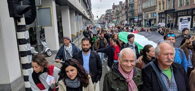Marche à Amsterdam pour soutenir Jérusalem et pour protester contre le récent massacre d'Israël à Gaza, hier