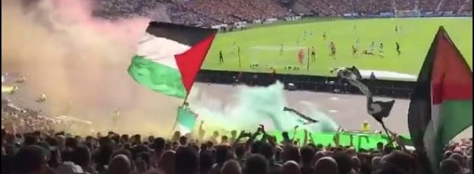 Les fans du Celtic Glascow ont leur façon de montrer leur solidarité et leur soutien à la 70 ème minute de match marquant la 70ème Nakba et condamnant le génocide d'Israël à Gaza