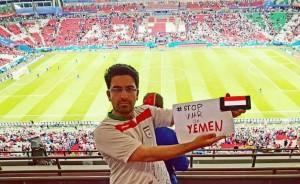 En images, les supporters iraniens présents au Mondial Russe disent STOP A LA GUERRE CONTRE LE YÉMEN3