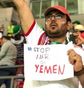 En images, les supporters iraniens présents au Mondial Russe disent STOP A LA GUERRE CONTRE LE YÉMEN4