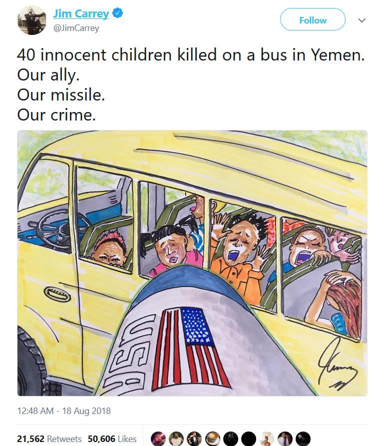 Jim Carrey, le célèbre comédien américain, a exprimé ses condoléances et son embarras sur le rôle de son pays dans le massacre de 40 enfants yéménites innocents.