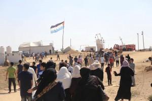 Les familles palestiniennes participent aux manifestations de la Grande Marche du Retour à la frontière de Gaza2