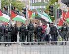 Des centaines de personnes ont manifestés pour protester contre un match «amical» de football entre l'Irlande du nord et Israël.