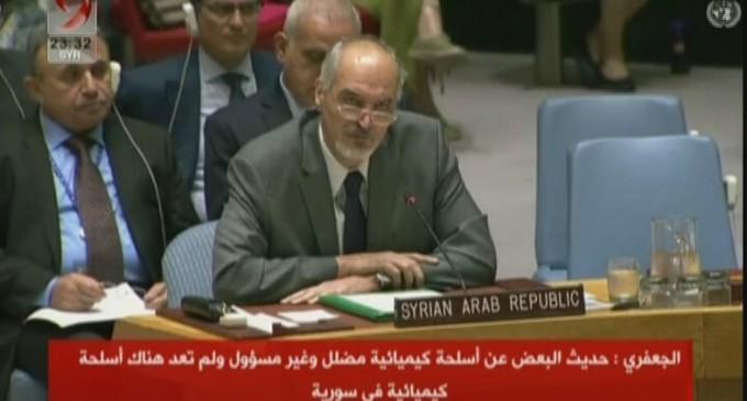 Le représentant syrien permanent à l'ONU – le dr Bachar el-Jaafari répond à l'ambassadrice britannique :
