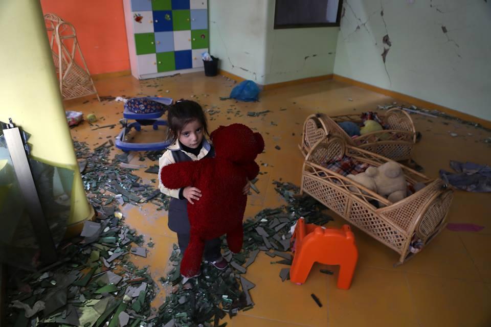 Le jardin d'enfants S1hahed a été détruit par les bombardements israéliens sur un bâtiment résidentiel juste à côté de la maternelle la semaine dernière à Gaza1