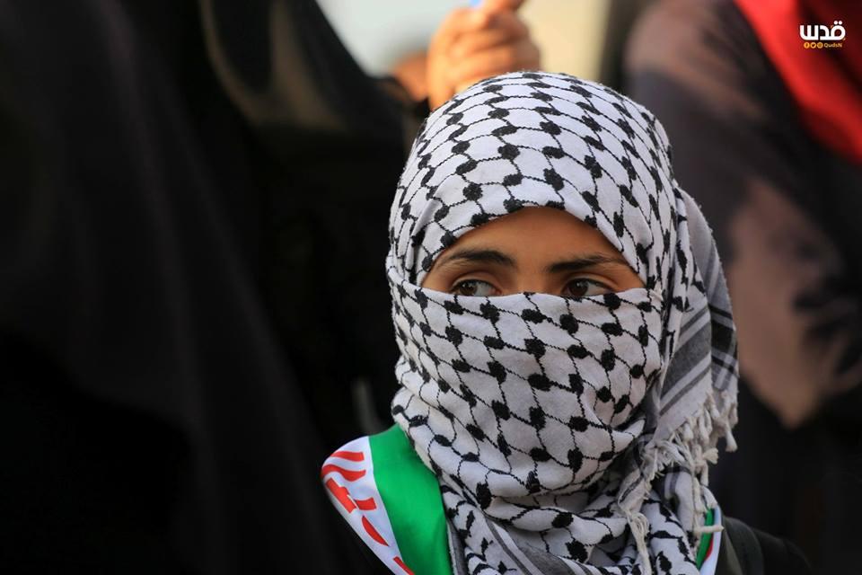 es femmes palestiniennes participent aux manifestations de la Grande Marche du Retour à la frontière de Gaza, hier1