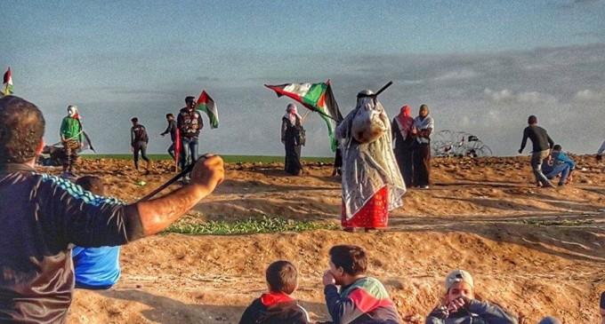 Des scènes des manifestations en cours de la Grande Marche du Retour à la frontière de Gaza, aujourd'hui
