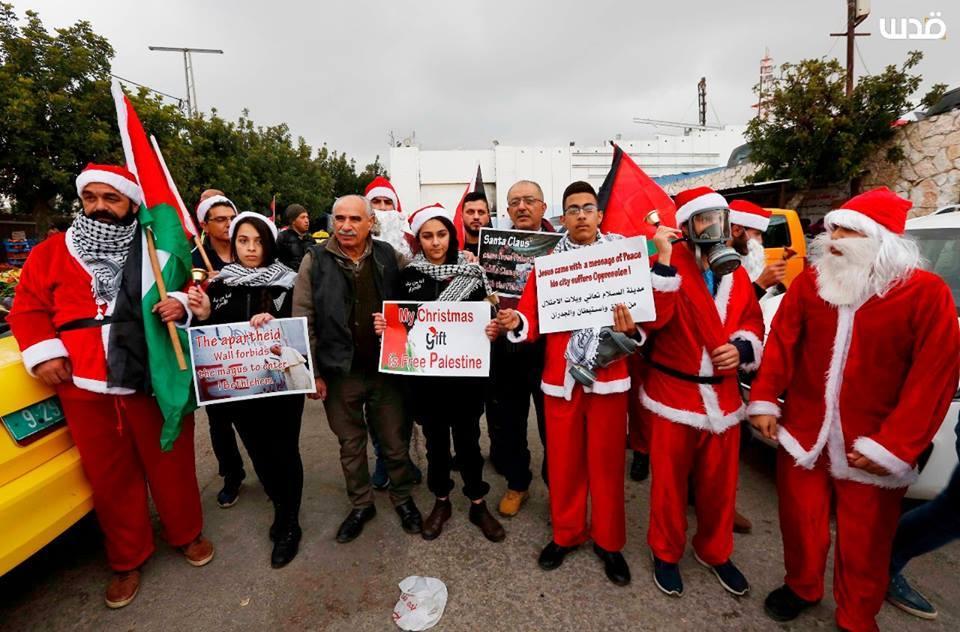 Les Palestiniens prennent part à un rassemblement à Bethléem, dans le sud de la Cisjordanie, pour protester contre les restrictions imposées par les mouvements israéliens, aujourd'hui.3