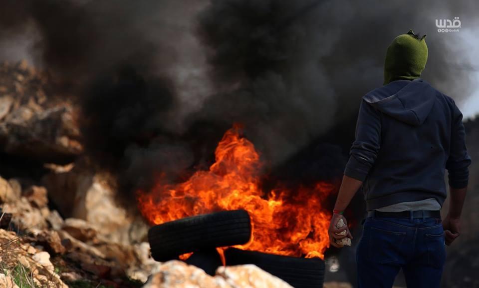 Scène d'affrontements d'aujourd'hui entre les forces d'occupation israéliennes et les manifestants palestiniens dans le village de Kafr Qaddoum dans la Cisjordanie occupée.2