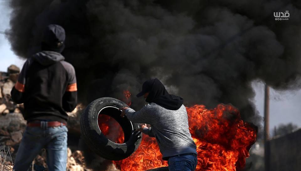 Scène d'affrontements d'aujourd'hui entre les forces d'occupation israéliennes et les manifestants palestiniens dans le village de Kafr Qaddoum dans la Cisjordanie occupée.3