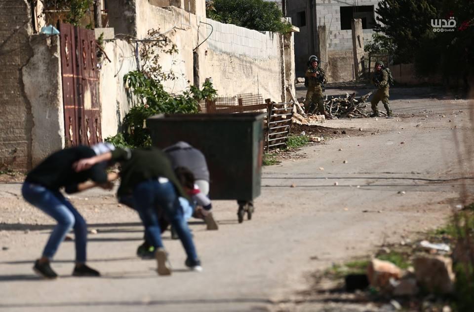 Scène d'affrontements d'aujourd'hui entre les forces d'occupation israéliennes et les manifestants palestiniens dans le village de Kafr Qaddoum dans la Cisjordanie occupée.5