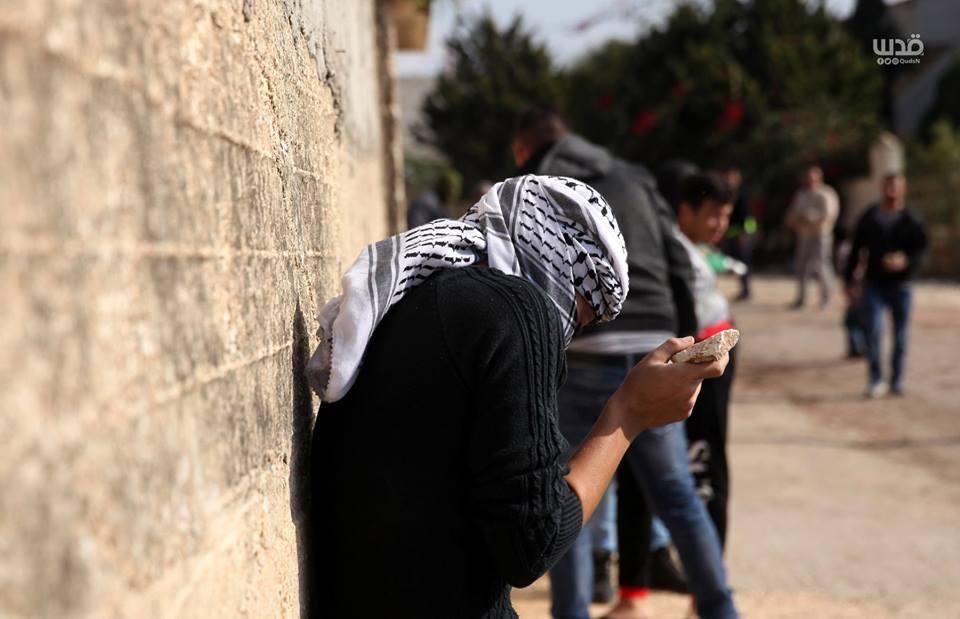 Scène d'affrontements d'aujourd'hui entre les forces d'occupation israéliennes et les manifestants palestiniens dans le village de Kafr Qaddoum dans la Cisjordanie occupée.6