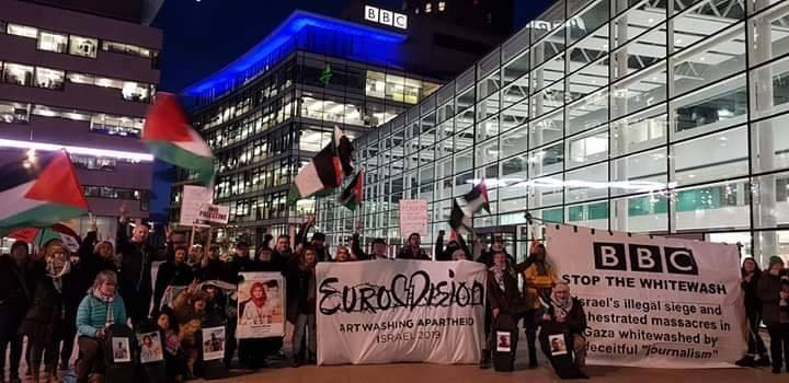 Des militants pro-Palestiniens se sont réunis devant la BBC Media City à Manchester1