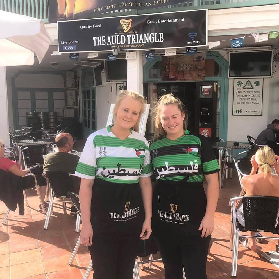 Les fans du club celtique se préparent pour le prochain match de leur club, portant des t-shirts avec l'écriture arabe de la #Palestine.