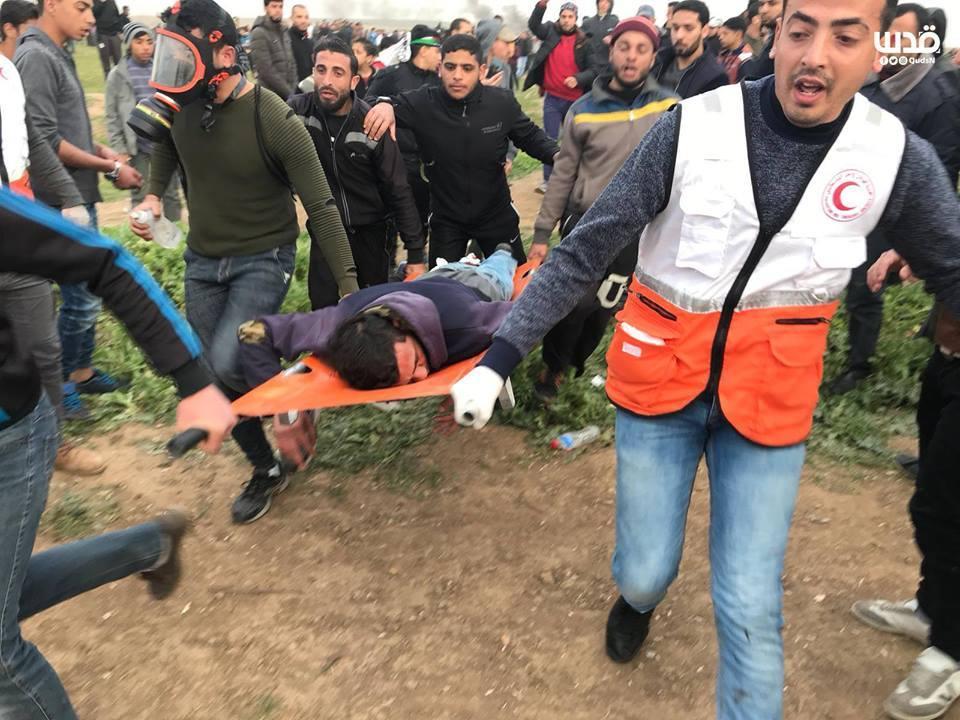 Plusieurs palestiniens ont été blessés par des tireurs d'élite des forces d'occupation vendredi lors des manifestations de la Grande Marche du Retour à Gaza1