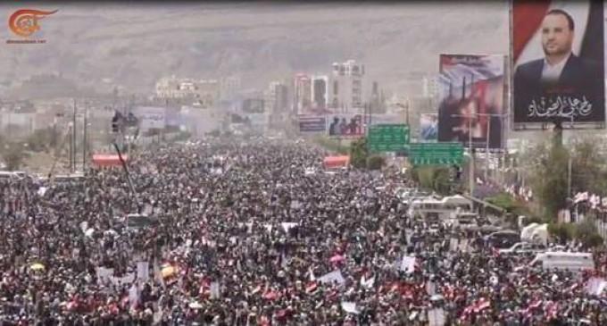 Manifestations massives au Yémen, à l'occasion de l'entrée de la 4ème année de guerre contre le pays
