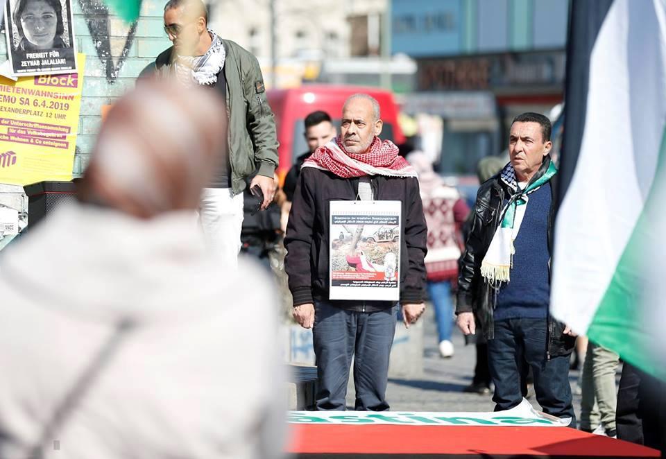 Les militants pro-Palestine se sont réunis hier à Berlin, en Allemagne, en solidarité avec les palestiniens qui commémorent le premier anniversaire de la Grande Marche du Retour.3