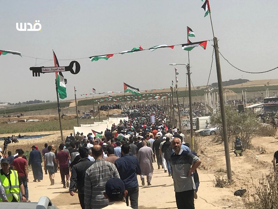 Des milliers de palestiniens se sont rendu aux frontières de la bande de Gaza pour réclamer leur droit de retourner dans leurs maisons