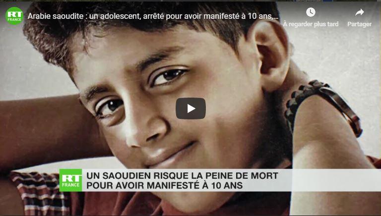 un adolescent, arrêté pour avoir manifesté à 10 ans, risque la peine de mort
