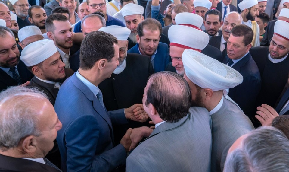 Le Président Al-Assad effectue la prière de l'Aïd Al-Adha à la mosquée Al-Affar à Damas.2