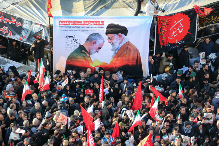 Mourners gather to pay homage to top Iranian military commander Qasem Soleimani, after he was killed in a US strike in Baghdad, in the capital Tehran on January 6, 2020.