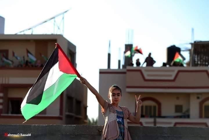 Les familles de la bande de Gaza brandissent le drapeau palestinien sur le toit de leurs maisons, en signe de rejet des tentatives de certains pays arabes de normaliser avec Israël1