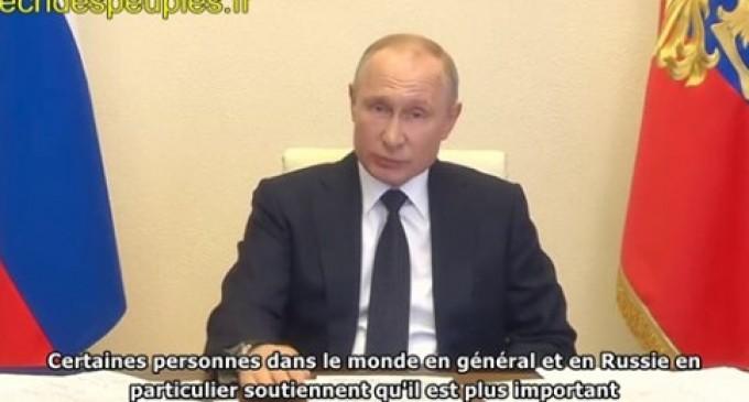 Poutine : la santé publique primera sur l'économie, refuser les soins aux plus âgés est un retour à la barbarie Rencontre avec les chefs régionaux sur la lutte contre la propagation du coronavirus, le 28 avril 2020