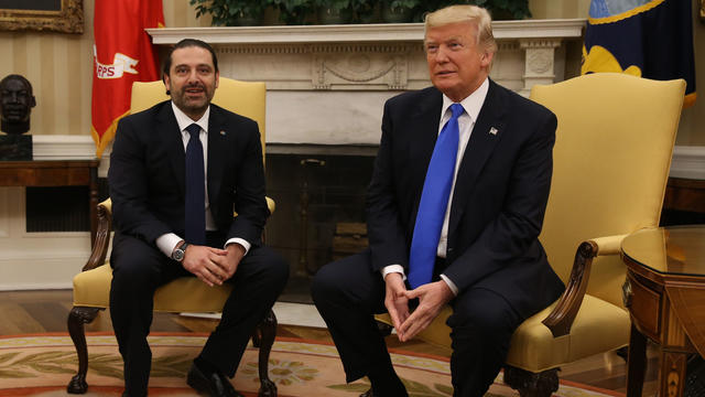 US President Donald Trump meets with Prime Minister of Lebanon Saad Hariri, in the Oval Office at the White House on July 25, 2017 in Washington,DC. / AFP PHOTO / Tasos Katopodis