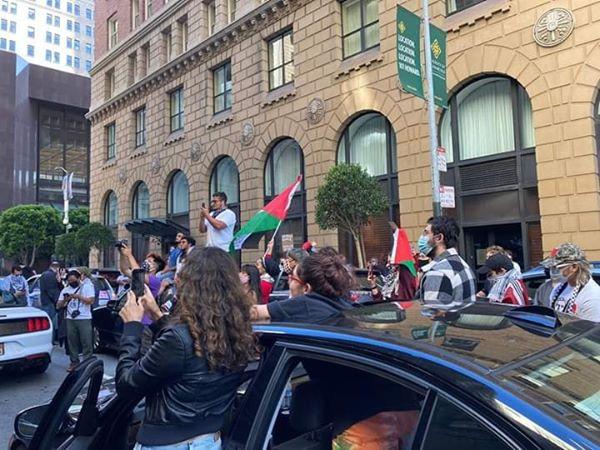 Les militants pro-Palestine ont bloqué la rue devant le consulat de l'occupation israélienne à San Francisco en protestation contre le plan d'annexion israélien, hier1