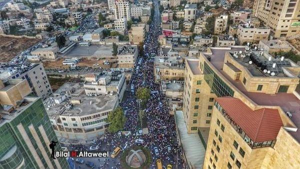 Des milliers de Palestiniens participent à un rassemblement à Al Khali(P