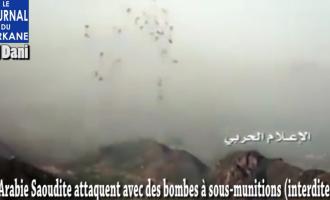 [Vidéo]   L'Arabie Saoudite et sa coalition maudite attaquent Sa'ada, au Yémen, avec des bombes à sous-munitions (interdites).