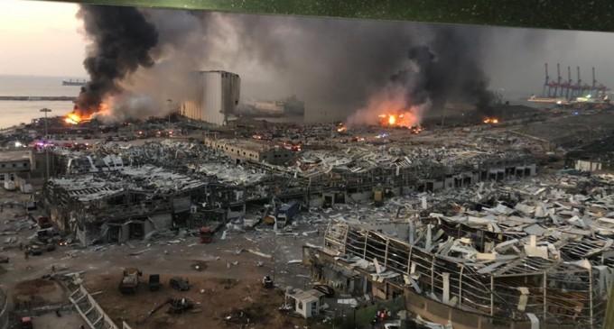 Une image montrant l'ampleur de la destruction du port de Beyrouth