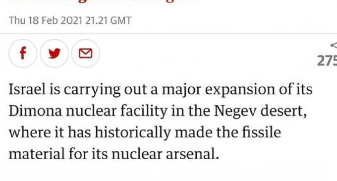 Israël étend Dimona, la seule fabrique de bombes nucléaires du Moyen-Orient.